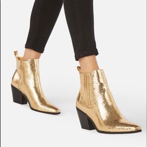 JustFab Gold Booties